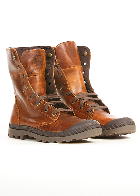 palladium baggy leather boot in chocolate